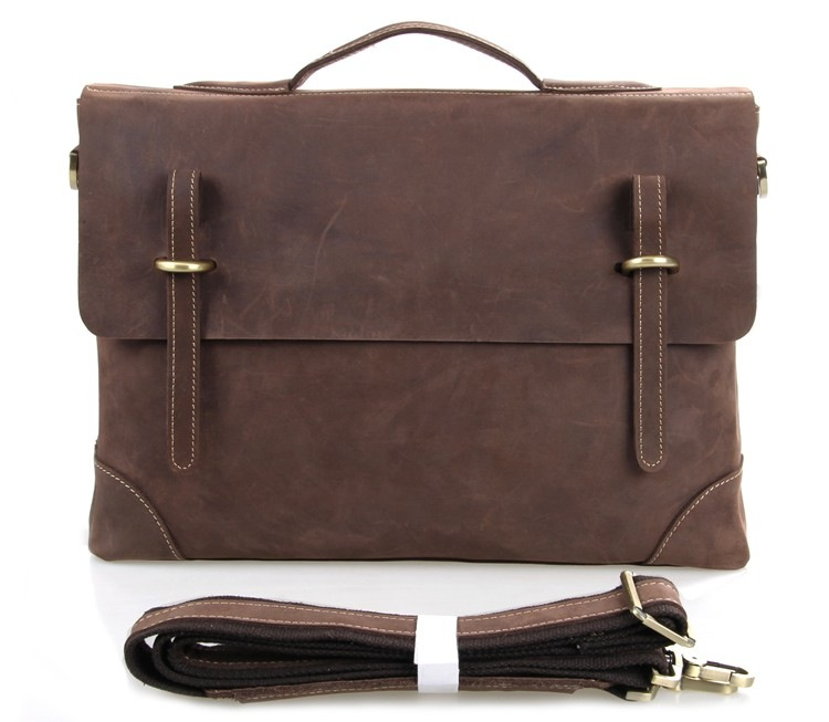 b5d9156e52 Christmas Gift Men s Briefcase Distressed Crazy Horse Leather Macbook  Laptop Bag--FREE SHIPPING