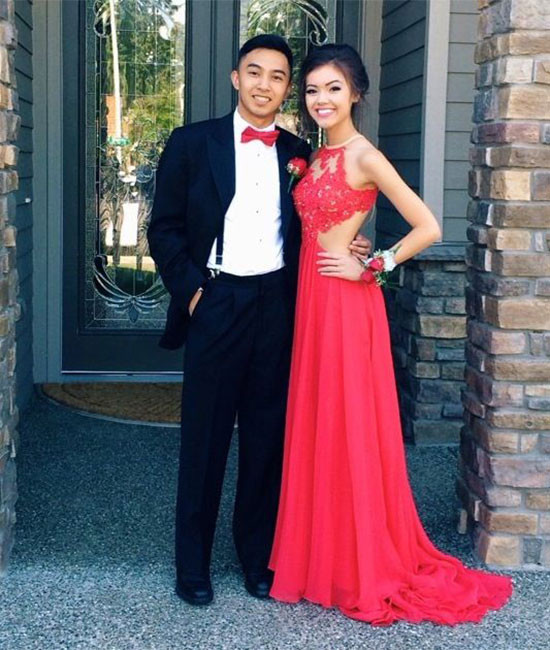 Red long prom dress, formal dress,,red lace backless long eveing ...