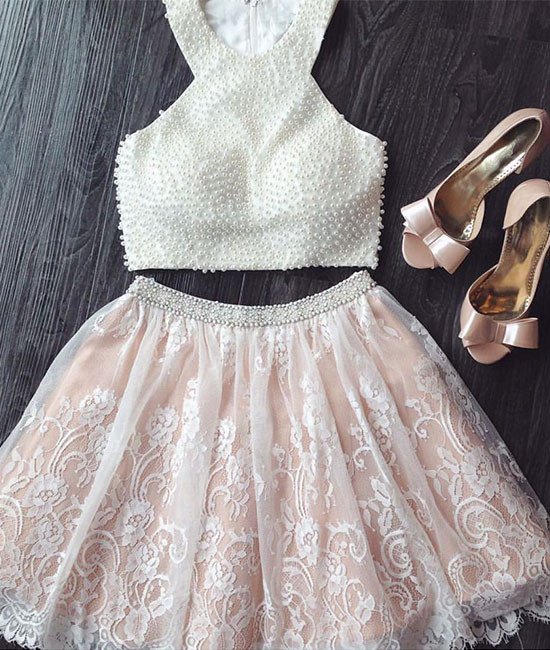 white a-line lace tow pieces short prom dress. cute homecoming dress ...