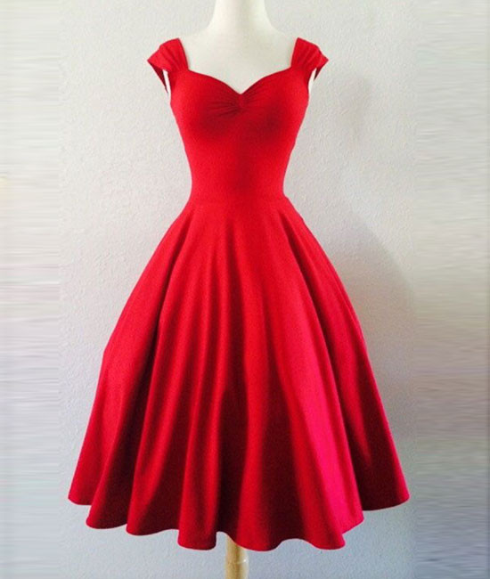 Custom made simple red sweetheart short prom dress, homecoming dress ...
