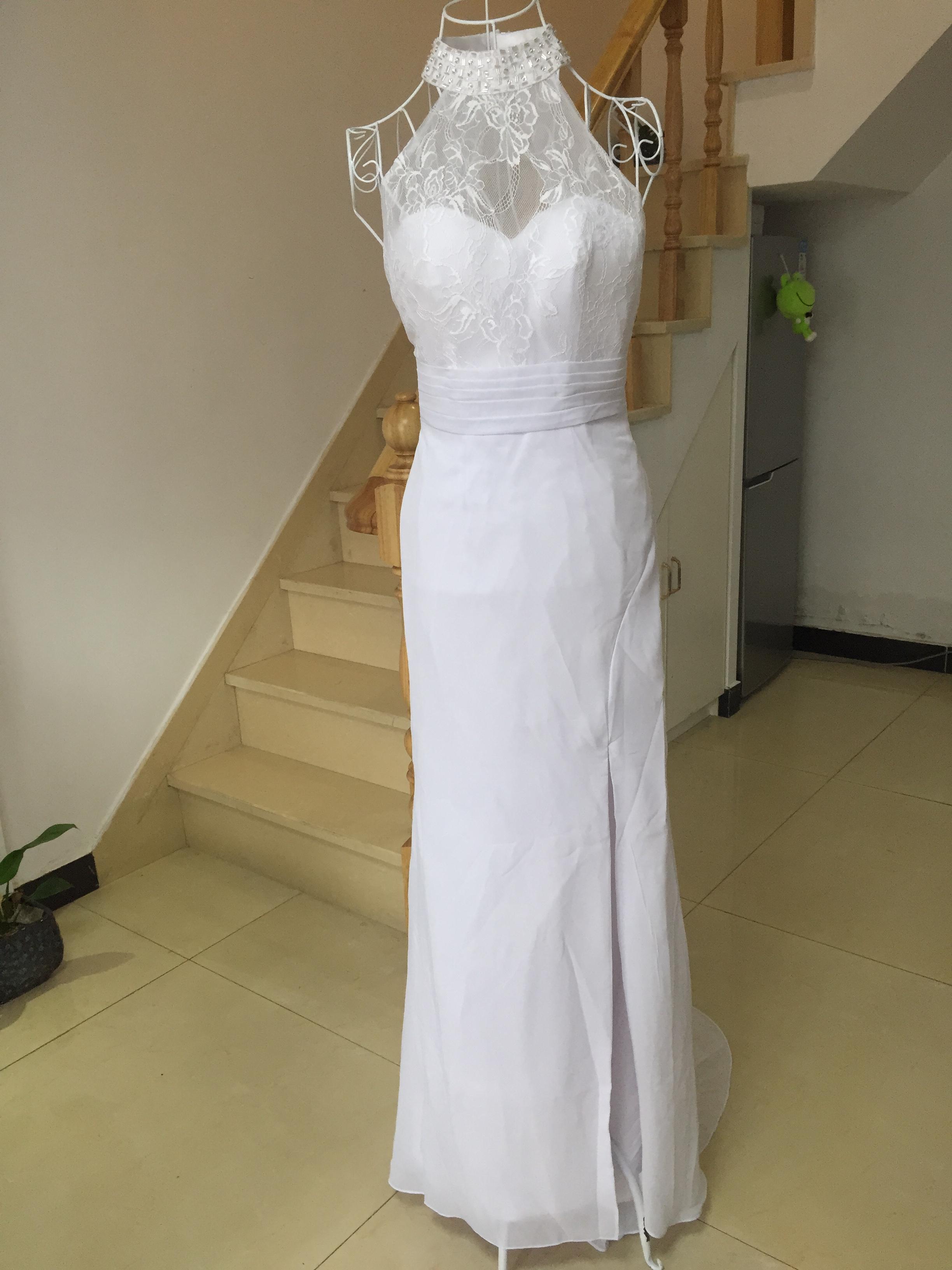 A399 Real Made Lace Top Wedding Dresses, Halter Side Slit Wedding ...