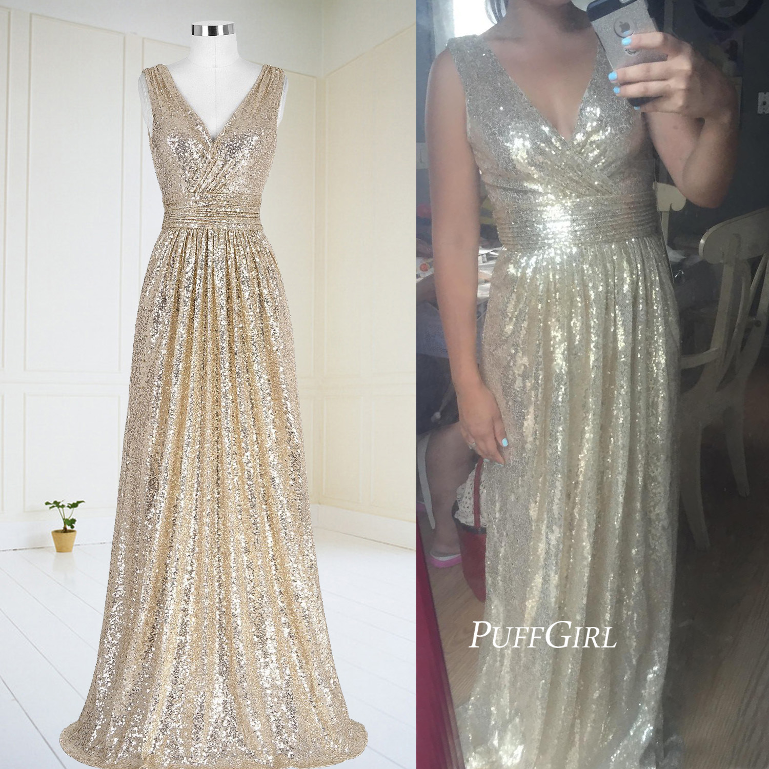 V Neck Gold Sequin Prom Dress,Formal Gown Long Ruched Bodice ...