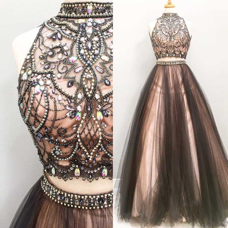 Two pieces A line prom dresses, Beaded prom dress, 2017 Tulle prom ...