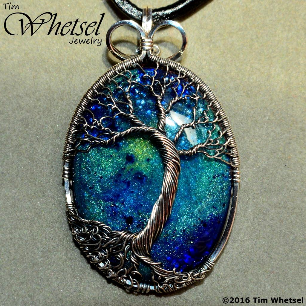 Sterling & Fine Silver Wire Wrap Tree of Life Pendant - Galaxy Glow ...