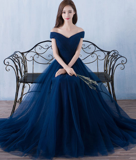 Simple A Line Dark Blue Tulle Long Prom For Teens, Blue Bridesmaid Dress