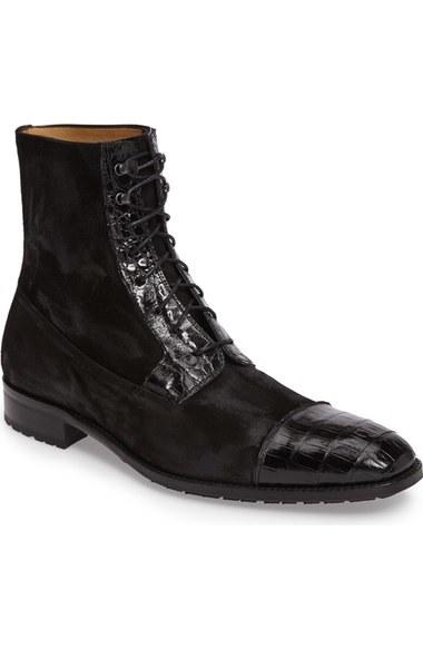 Handmade Mens Cap Toe High Ankle Boot Men Crocodile