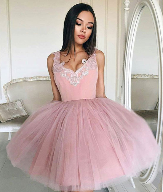 pink v neck tulle pink short prom dress, pink homecoming dress ...