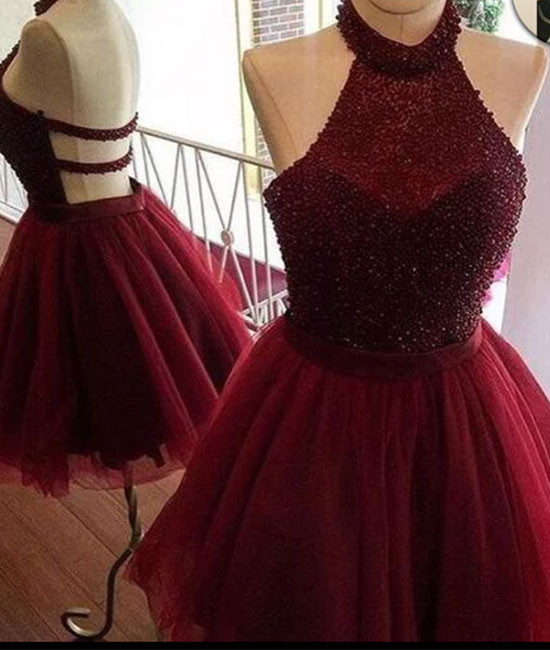 Custom made burgundy tulle sequin short prom dress, cute homecoming ...
