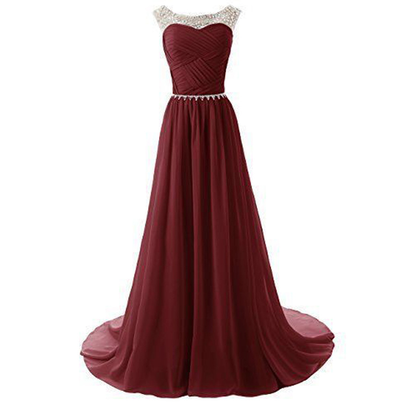 Charming A Line Burgundy Prom Dress Long Chiffon Wine Red Prom ...