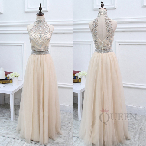 Gorgeous Champagne 2 Piece Tulle Long Prom Dress Two