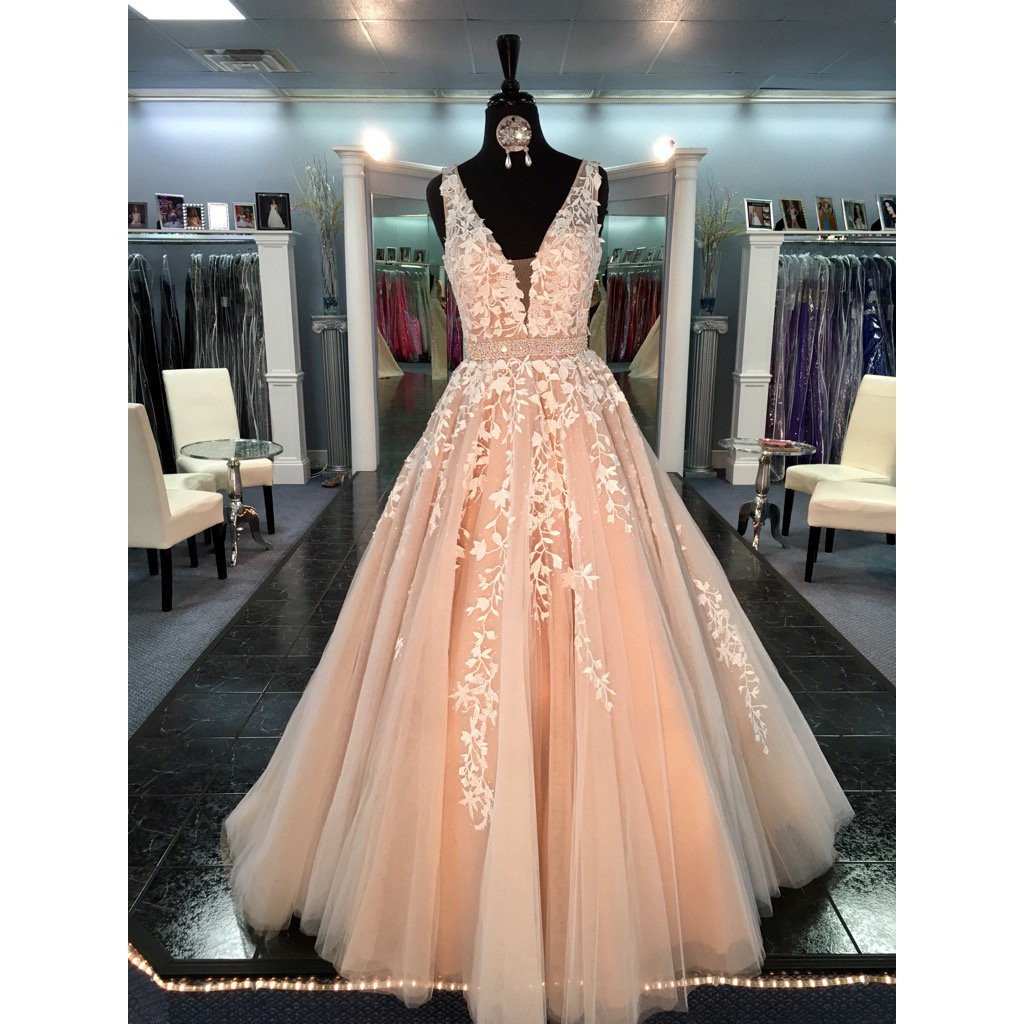 Lace Tulle A line Evening Prom Dresses, Sexy Deep V Neckline Party ...