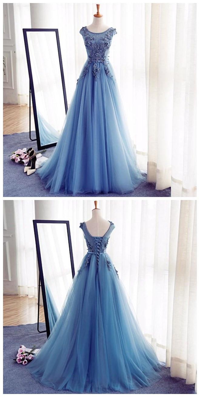 Appliques A-Line Prom Dresses,Long Prom Dresses,Cheap Prom Dresses ...