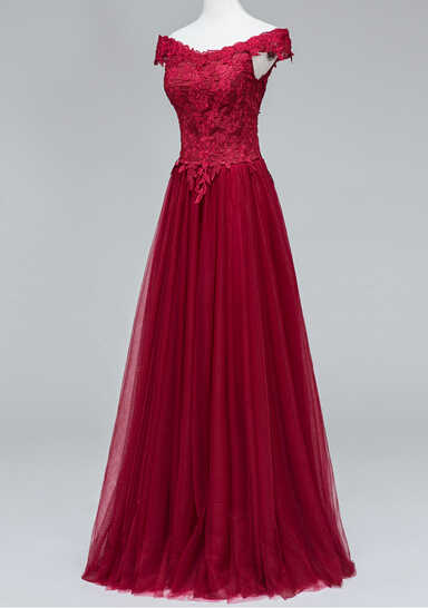 Pretty Evening Dresses Beautiful Tulle Wine Red Off ...