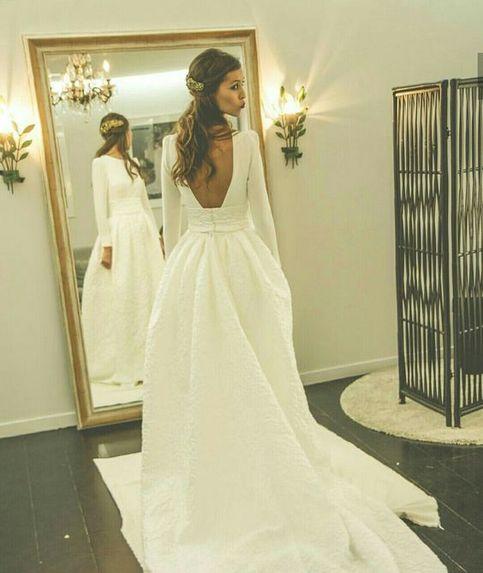 Romantic Wedding Dresses Princess Backless With Long Sleeves Satin ...