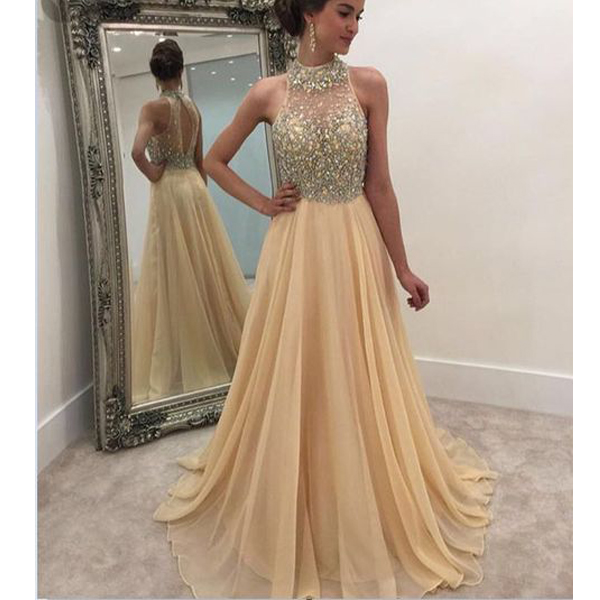 Champagne prom dress, shinning beaded top prom dress, open back prom ...