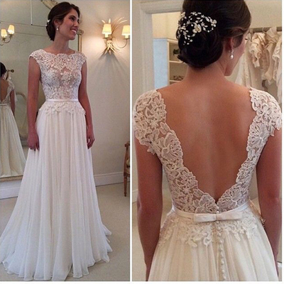 beach wedding dress simple a line lace bodice ivory chiffon skirt flowy long summer backless white