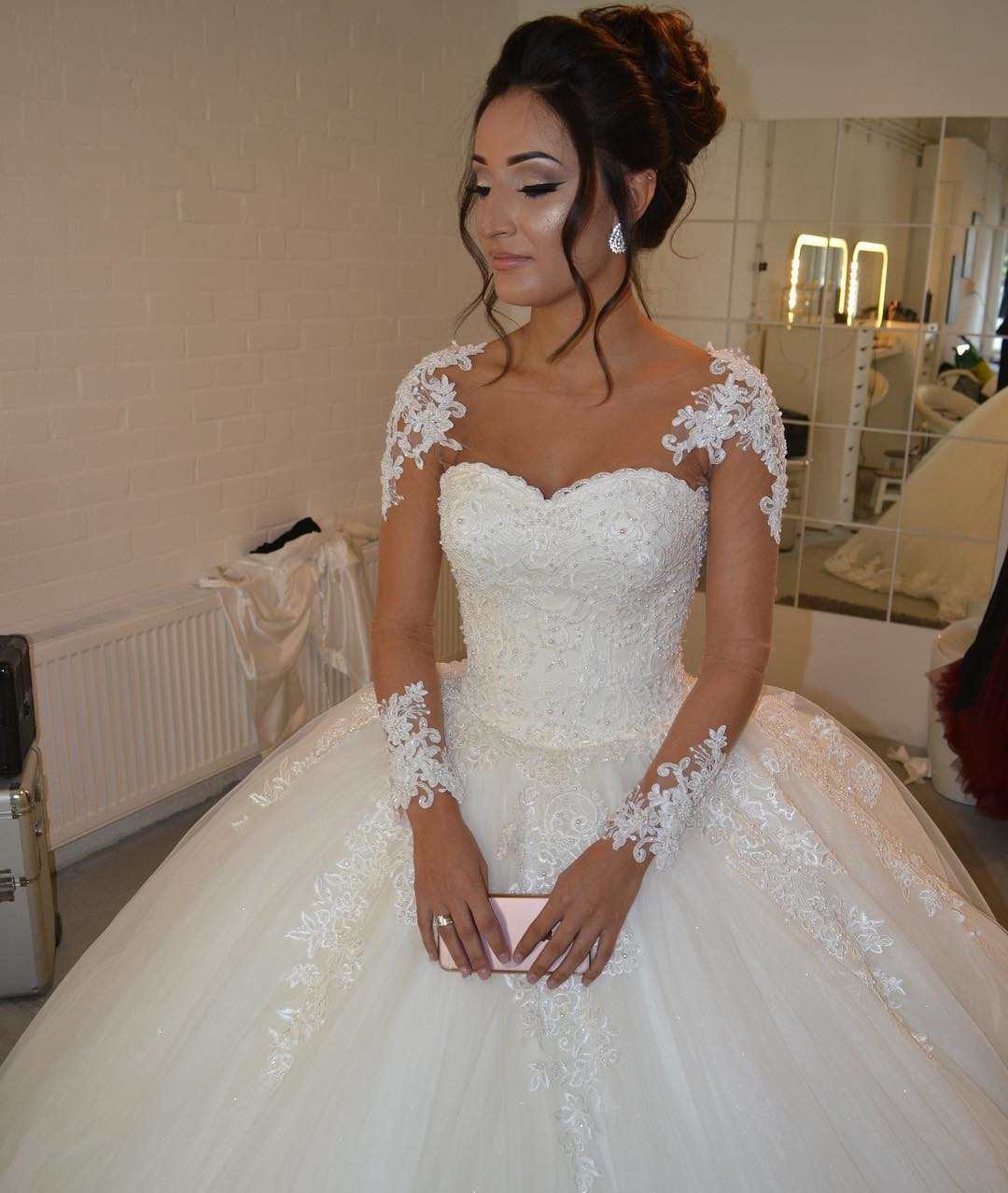 Wedding Dresses, Wedding Gown,sheer long sleeves white ball gowns ...