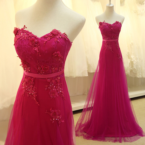 Beautiful Sweetheart Hot Pink Lace Prom Dresses,Beaded Sheath Long ...