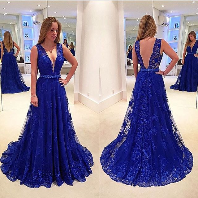 Backless Prom Dresses,Royal Blue Prom Dress,Backless Formal Gown ...