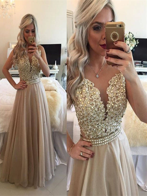 A Line Round Neck Sleeveless Long Champagne Prom Dress Champagne