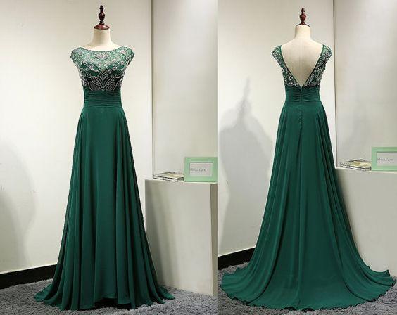 Newest Prom Dress,O-Neck Prom Dress,Beading Prom Dress,Evening Dress ...