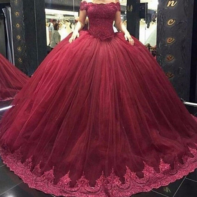Off Shoulder Red Lace Prom dresses, A line Ball Gown Prom dress ...