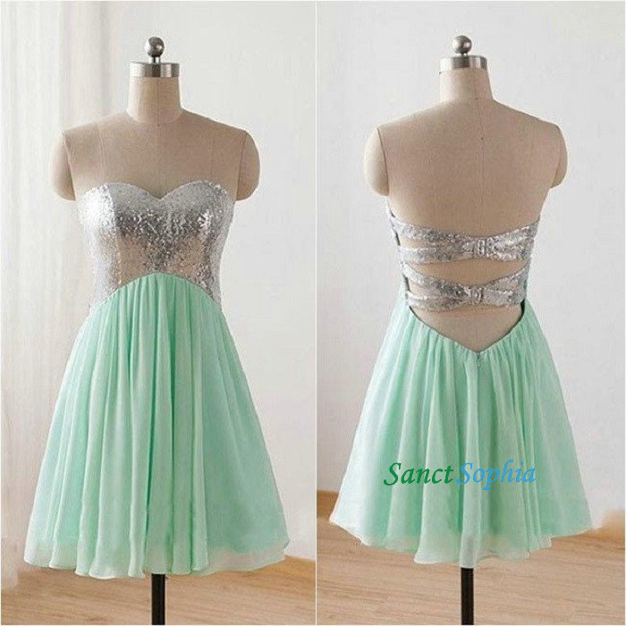 Short Mint Green Sequins Homecoming Dress,Knee Length Sequins Prom ...