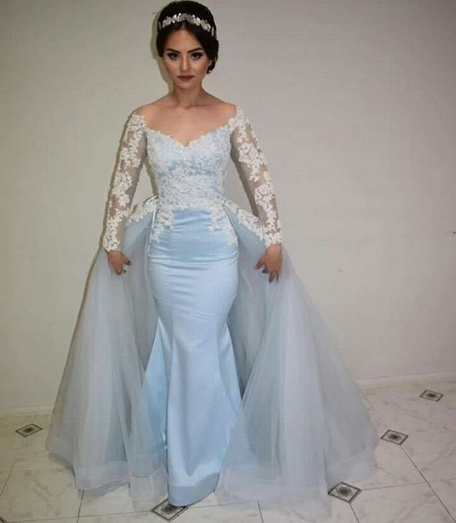 Light Blue Mermaid Formal Gown,Long Sleeve Prom Dress, Long Party ...