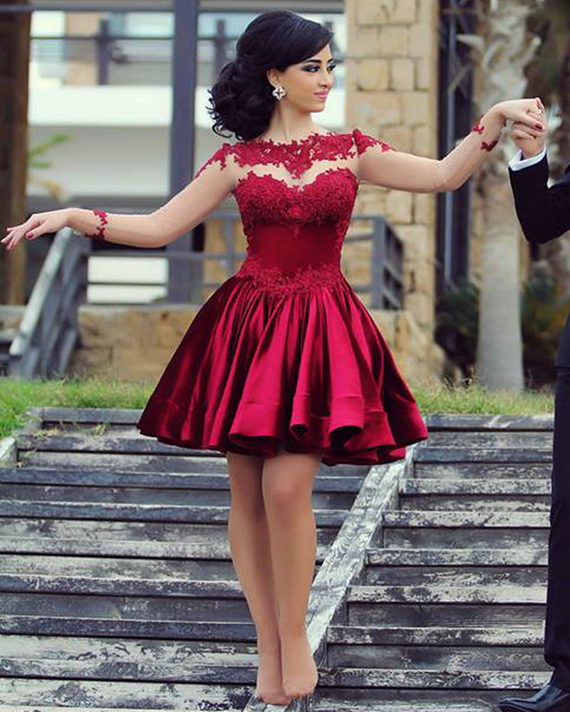 Long Sleeve Homecoming dresses,Charming Homecoming dresses,Burgundy ...