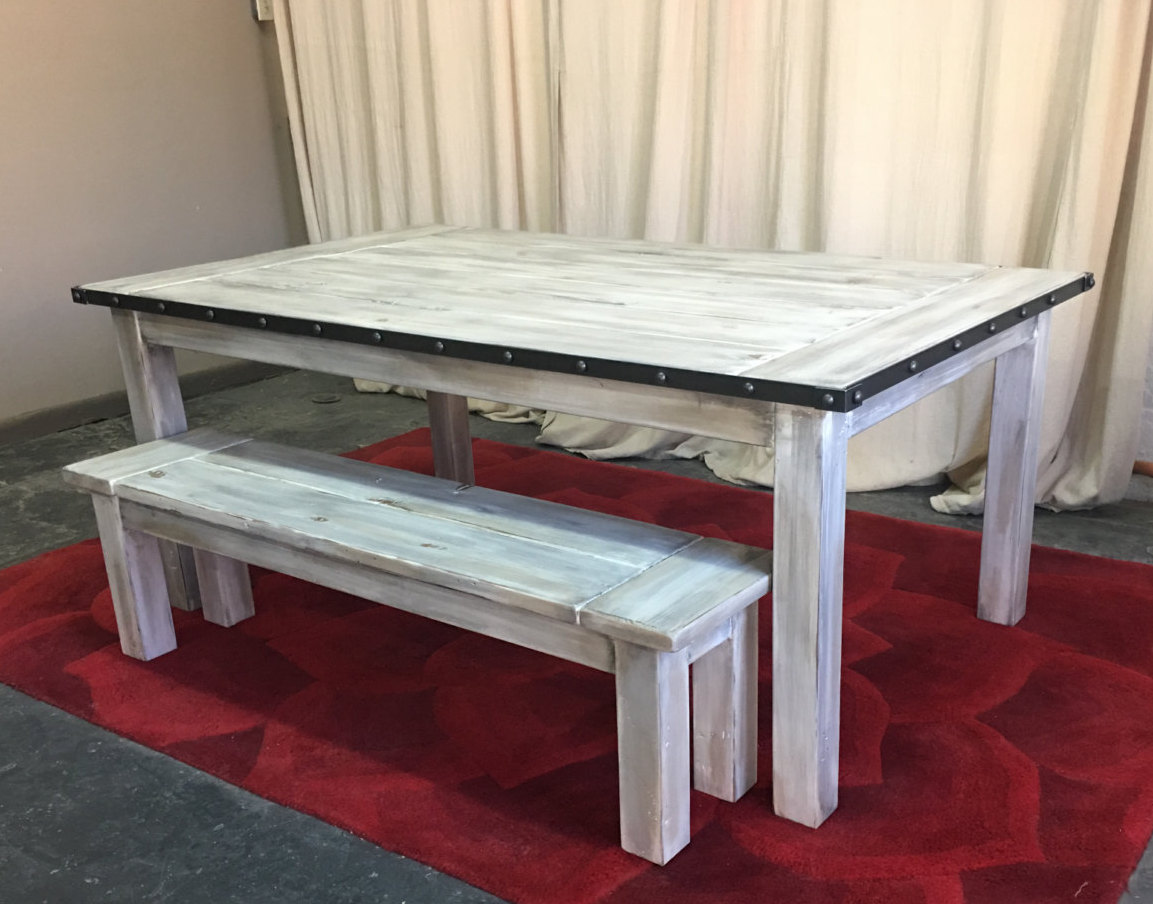 Kitchen Table Reclaimed Wood Dining Table Farmhouse Table Metal Banding Reclaimed Wood Table