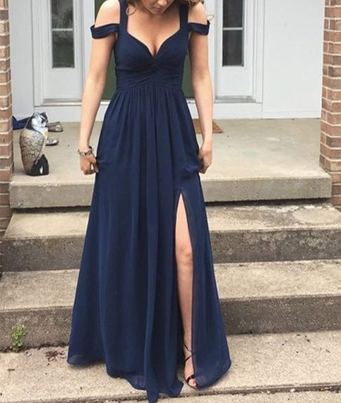 Simple gray a line off shoulder long prom dress bridesmaid for Simple cream colored wedding dresses