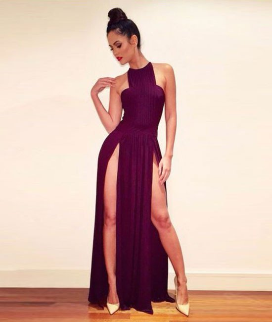 Burgundy Chiffon Long Prom Gowns