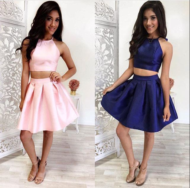 Simple Two-Piece Pink/Navy Blue Short Prom/Homecoming Dress ...