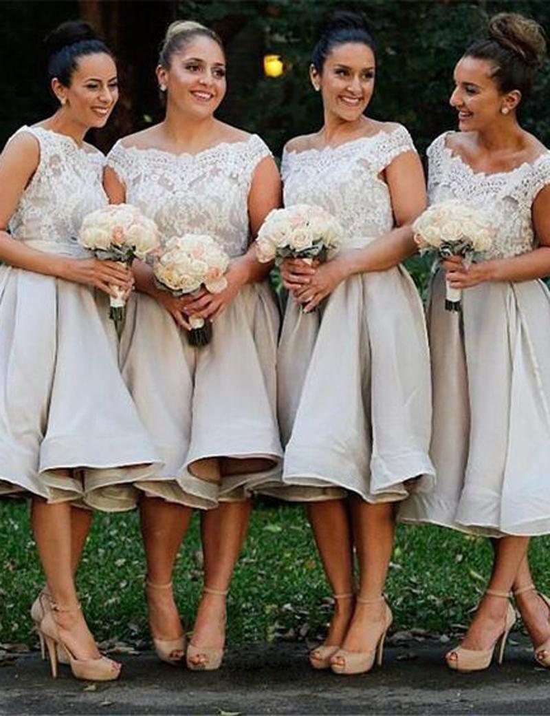 Light grey off shoulder knee length organza bridesmaid dress light grey off shoulder knee length organza bridesmaid dress ombrellifo Choice Image