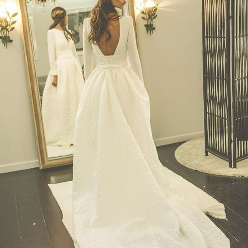 Decent Bateau Long Sleeves Court Train Pleated Wedding Dress ...