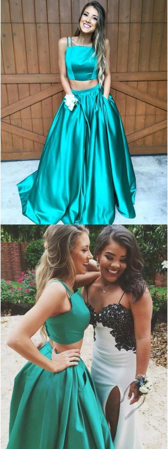 prom dresses,2 pieces prom dresses,2018 prom dresses,chic turquoise ...