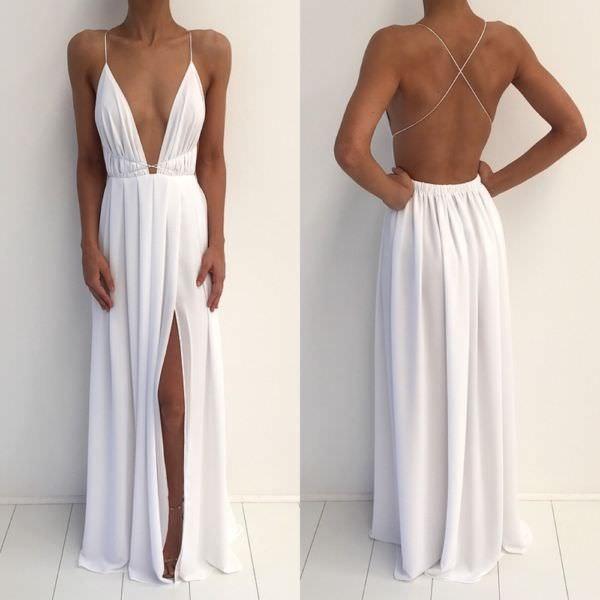 White backless long prom dress, white evening dress · dress day ...