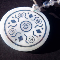 "17"" Silver Aztec inspired necklace"