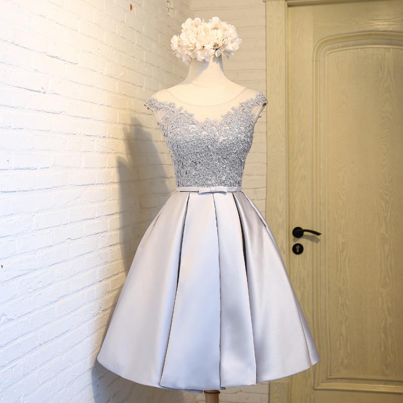 Little Cute | Gray lace short prom dress,gray evening dress ...