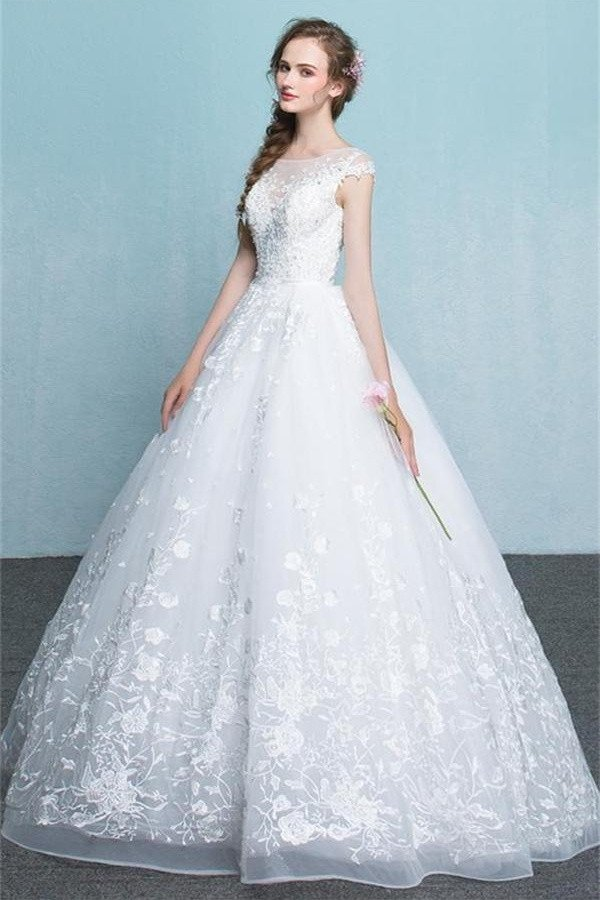Princess Long White Lace Tulle Wedding Dresses,Modest Backless Ball Gown  Simple A Line