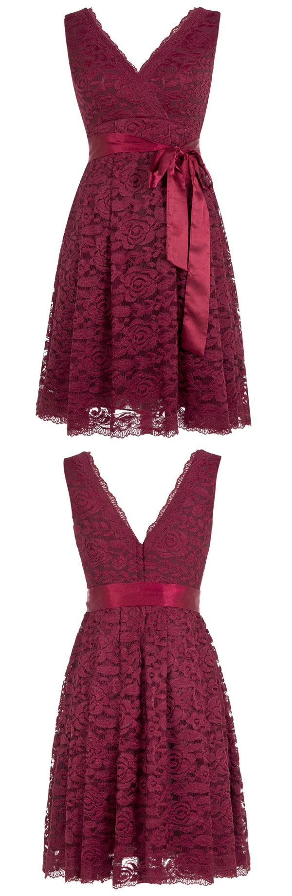 Cute A Line V Neck Short Knee Length Burgundy Lace Bridesmaid Dress