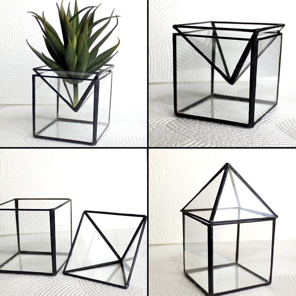 L A Glass Studio 2 In 1 Geometric Glass Terrariums Candle Holder
