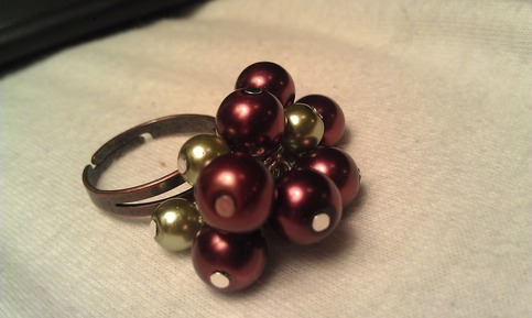 Brown & Green Cluster Ring
