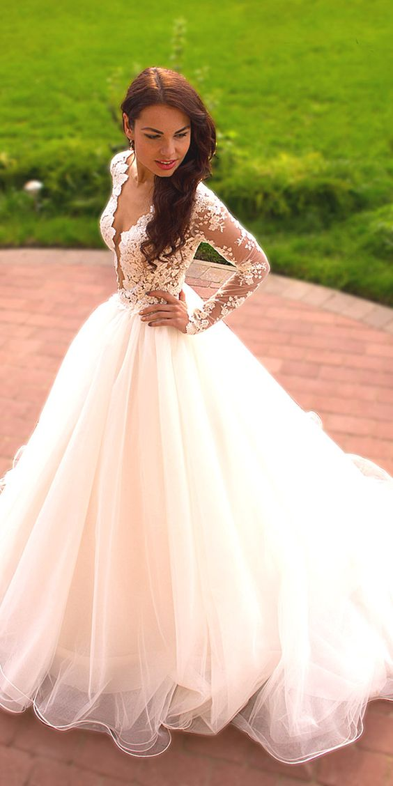 New Arrival Wedding Dress,White lace wedding dress,see through Chic ...