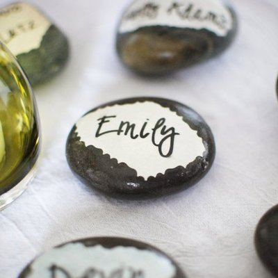 Place card stones - decoupaged by hand