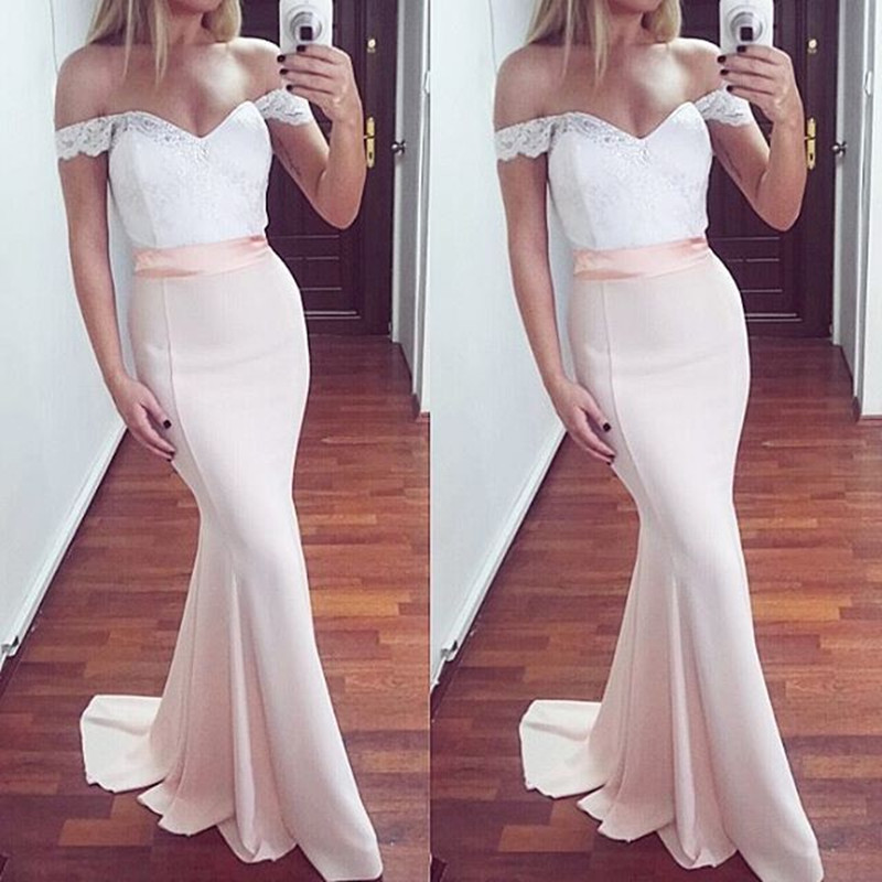 White lace off shoulder mermaid prom dress,white and light pink ...