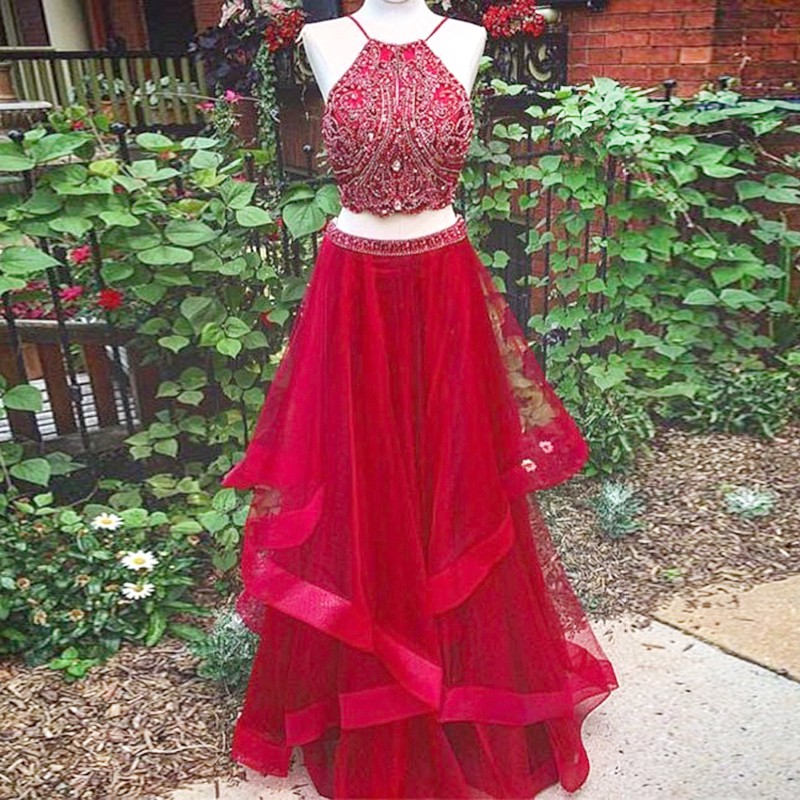 Fashion Two Piece A-Line Jewel Red Long Prom Dress With Beading ...