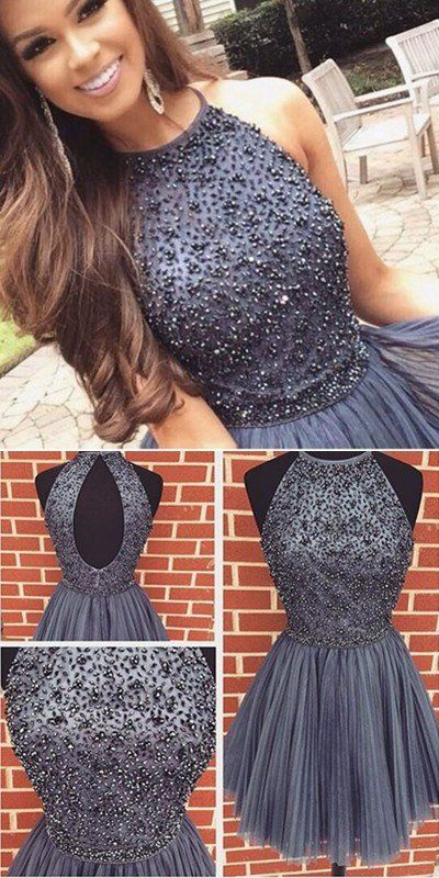High Quality Beaded Homecoming Dress, Short Prom Dress,Halter Strap ...