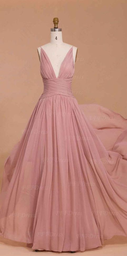 Charming evening dress v neck evening dress sexy prom for Rose pink wedding dress