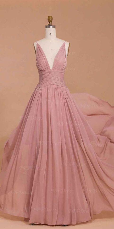 Charming evening dress v neck evening dress sexy prom for Vintage rose wedding dress